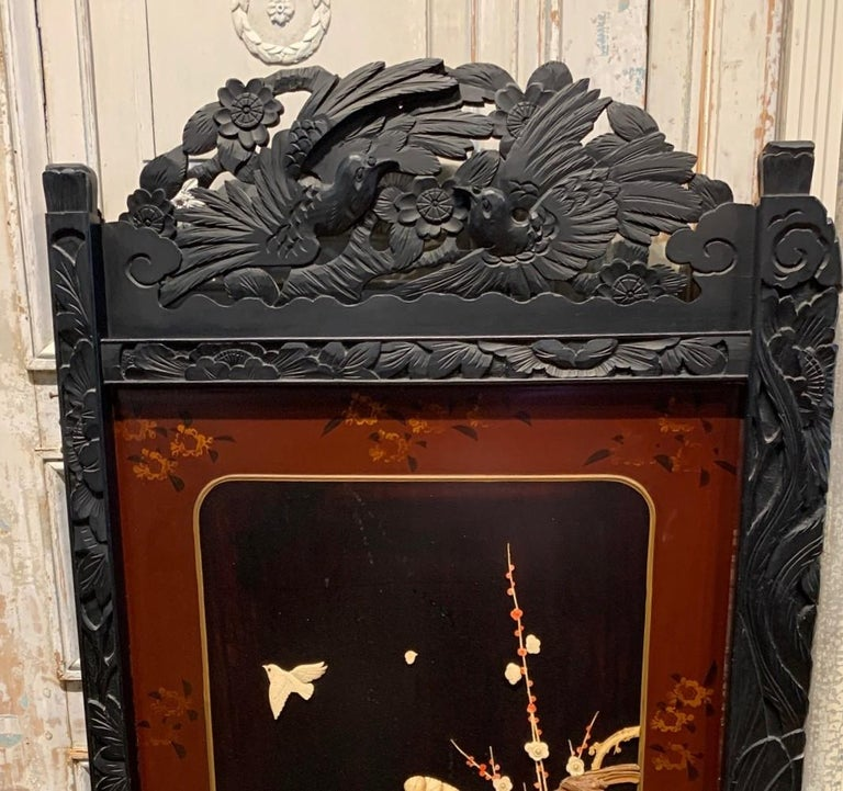19th Century Pair of Chinese Carved Wood and Bone Wall Panels In Good Condition For Sale In Dallas, TX