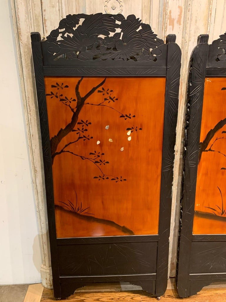 19th Century Pair of Chinese Carved Wood and Bone Wall Panels For Sale 1