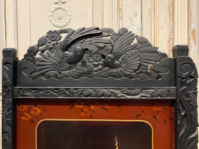 19th Century Pair of Chinese Carved Wood and Bone Wall Panels For Sale 2