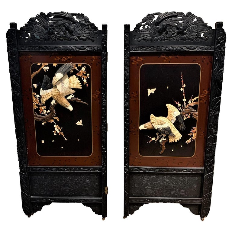 19th Century Pair of Chinese Carved Wood and Bone Wall Panels For Sale