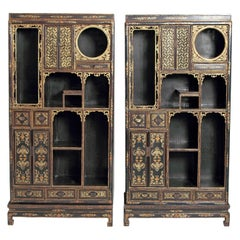 19th Century Pair of Chinese Display Cabinets in Black Lacquer