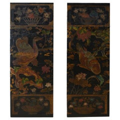 19th Century Pair of Chinese Polychrome Decorated Leather Panels