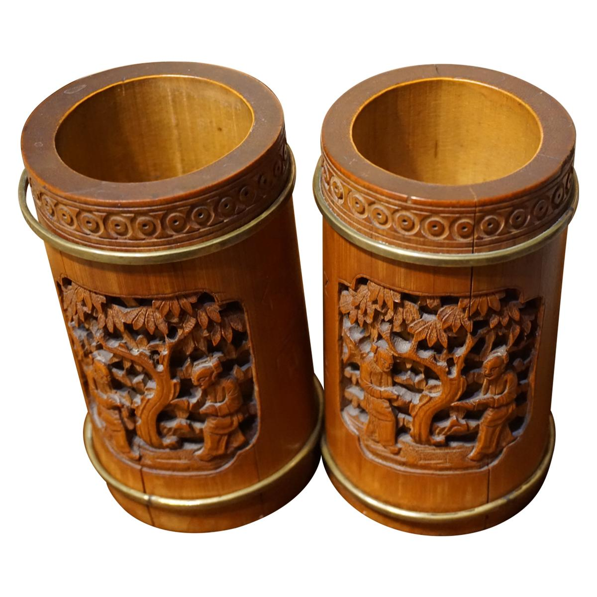 19th Century Pair of Chinese Scholar's Carved Bamboo Brush Pots Brass