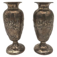19th Century Pair of Chinese Silver Dragon Decorated Vases