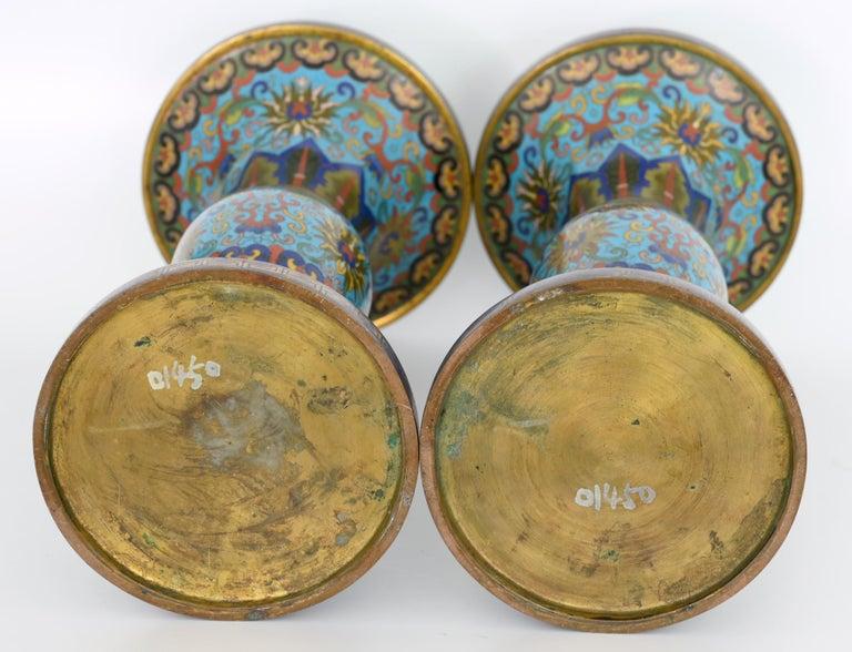 Cloissoné  19th Century Pair of Cloisonné Vases, China For Sale