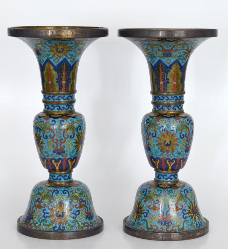 Enamel  19th Century Pair of Cloisonné Vases, China For Sale