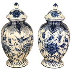 19th Century Pair Of Delft Ceramic Pots