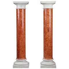 19th Century Pair of Doric Columns in Red Verona Marble