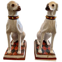 19th Century Pair of Earthenware Dogs from France