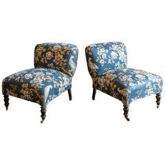19th Century Pair of Ebonized Napoleon III Slipper Chairs