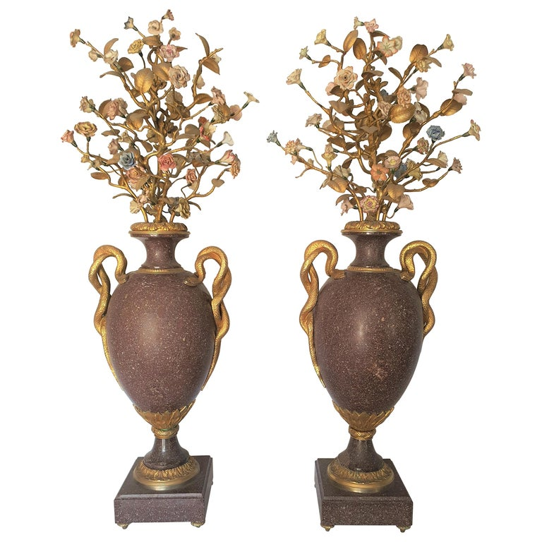 19th Century Pair of Egyptian Porphyry Vases and Vessels Porcelain Gilded Bronze For Sale
