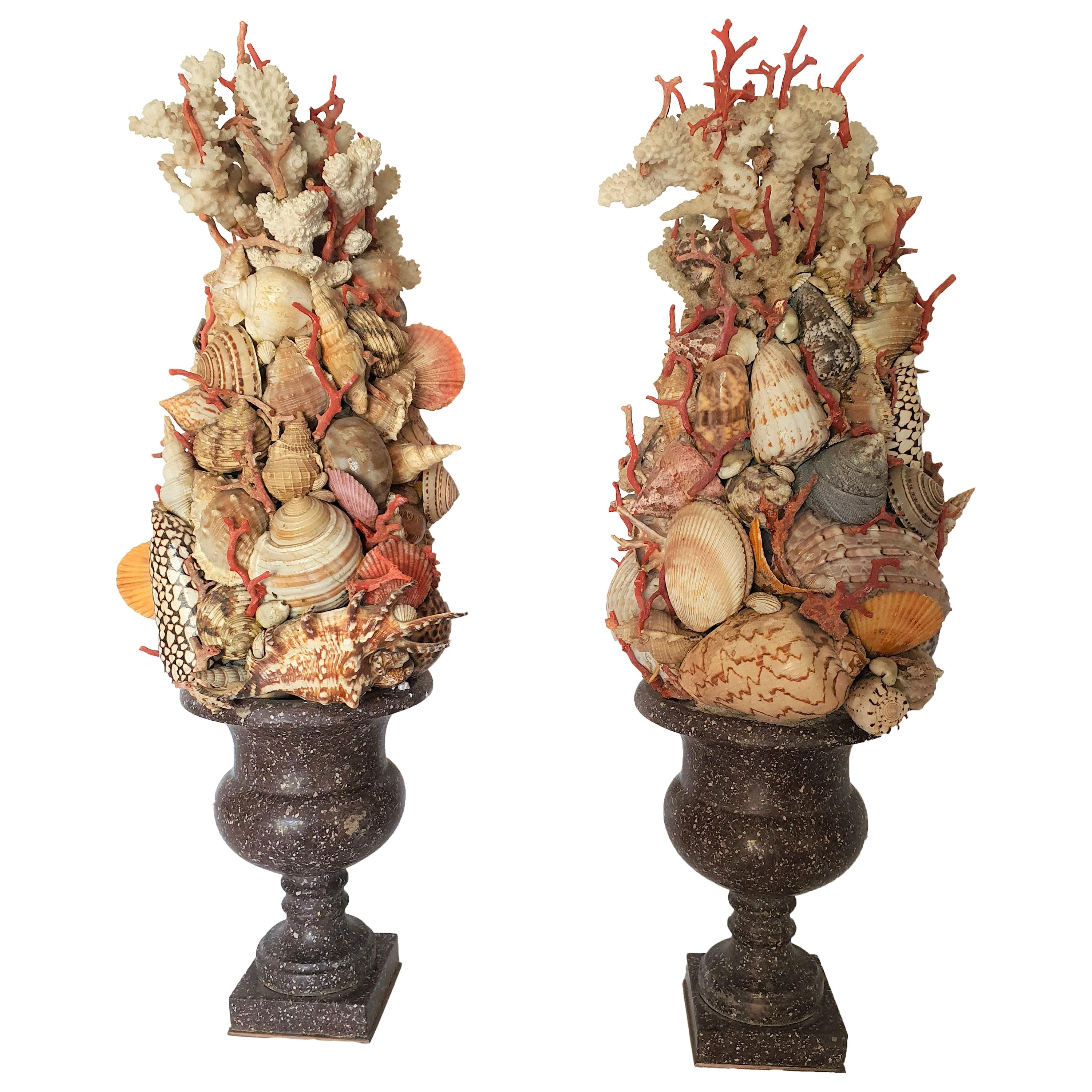 19th Century Pair of Egyptian Porphyry Vases with Shells and Coral from Trapani