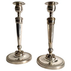19th Century Pair of Empire Candlesticks