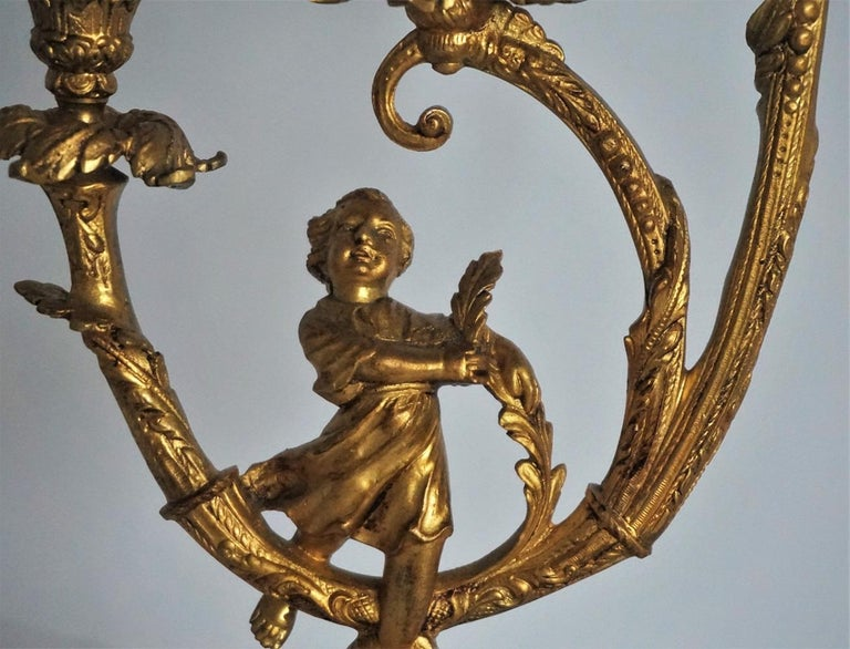 19th Century Pair of Empire Gilt Bronze Figural Three-Light Candleholders For Sale 2