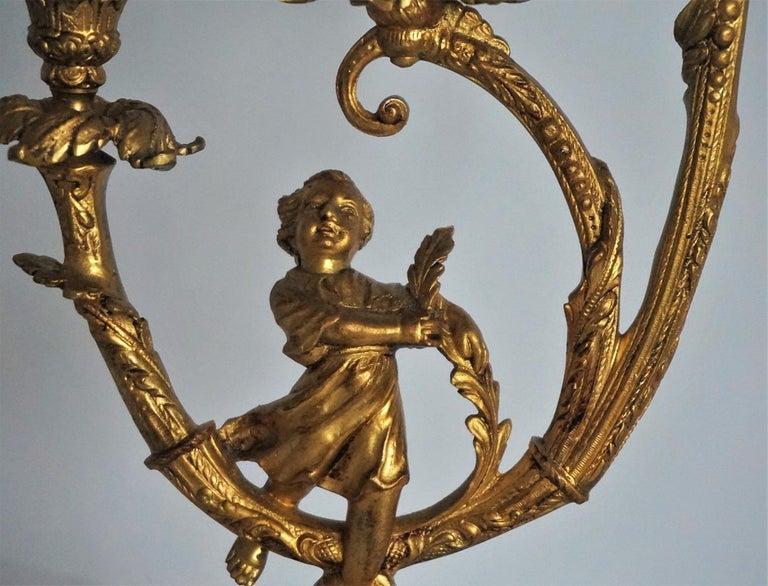 19th Century Pair of Empire Gilt Bronze Figural Three-Light Candleholders 6