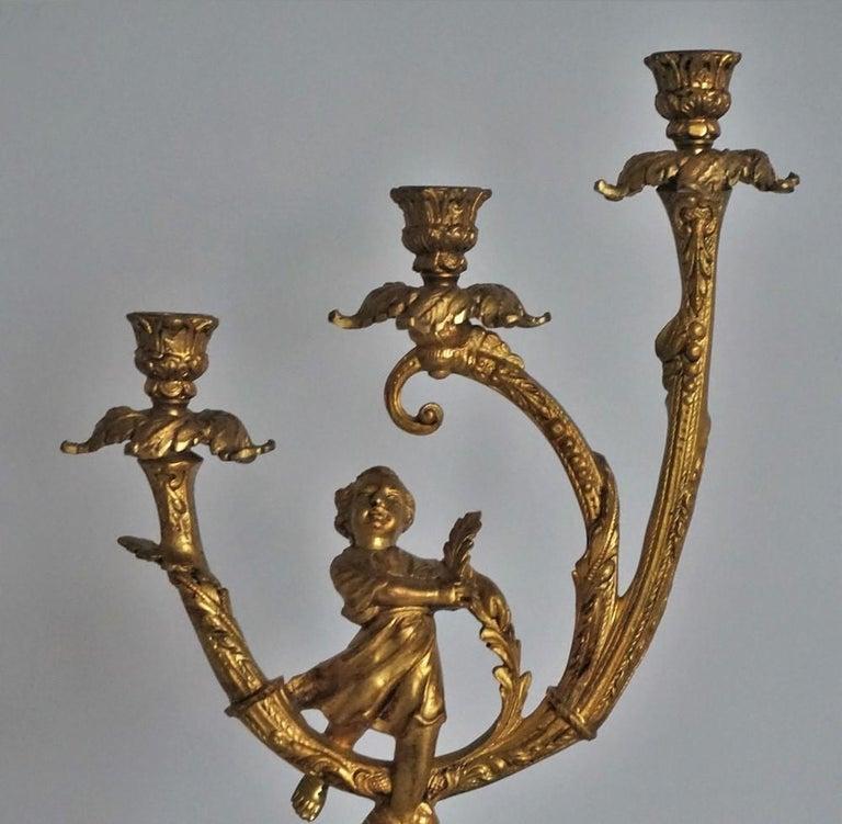 19th Century Pair of Empire Gilt Bronze Figural Three-Light Candleholders 7