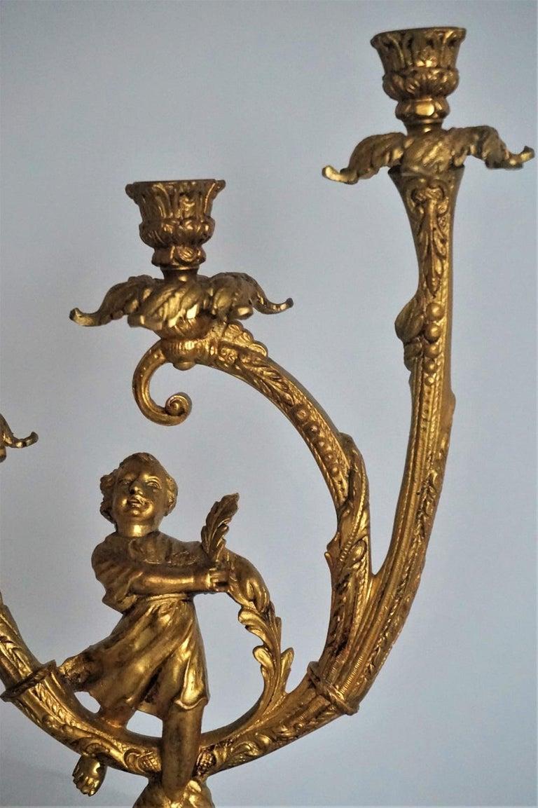 19th Century Pair of Empire Gilt Bronze Figural Three-Light Candleholders 8