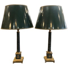 19th Century Pair of Empire Marble Table Lamps, 1880s