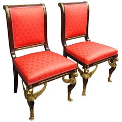 19th Century Pair of Empire Revival Side Chairs