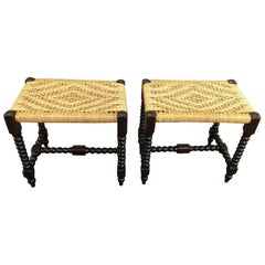19th Century Pair of English Blackened Turned Stools with Woven Caned Top