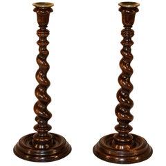 19th Century Pair of English Candlesticks