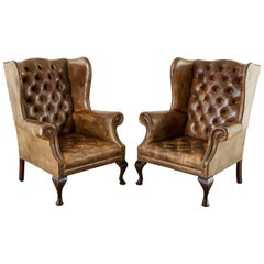 19th Century Pair of English Cigar Leather Wingback Library Chairs
