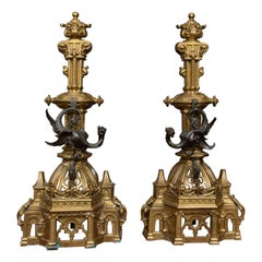 19th Century Pair of English Gilt and Patinated Bronze Andirons