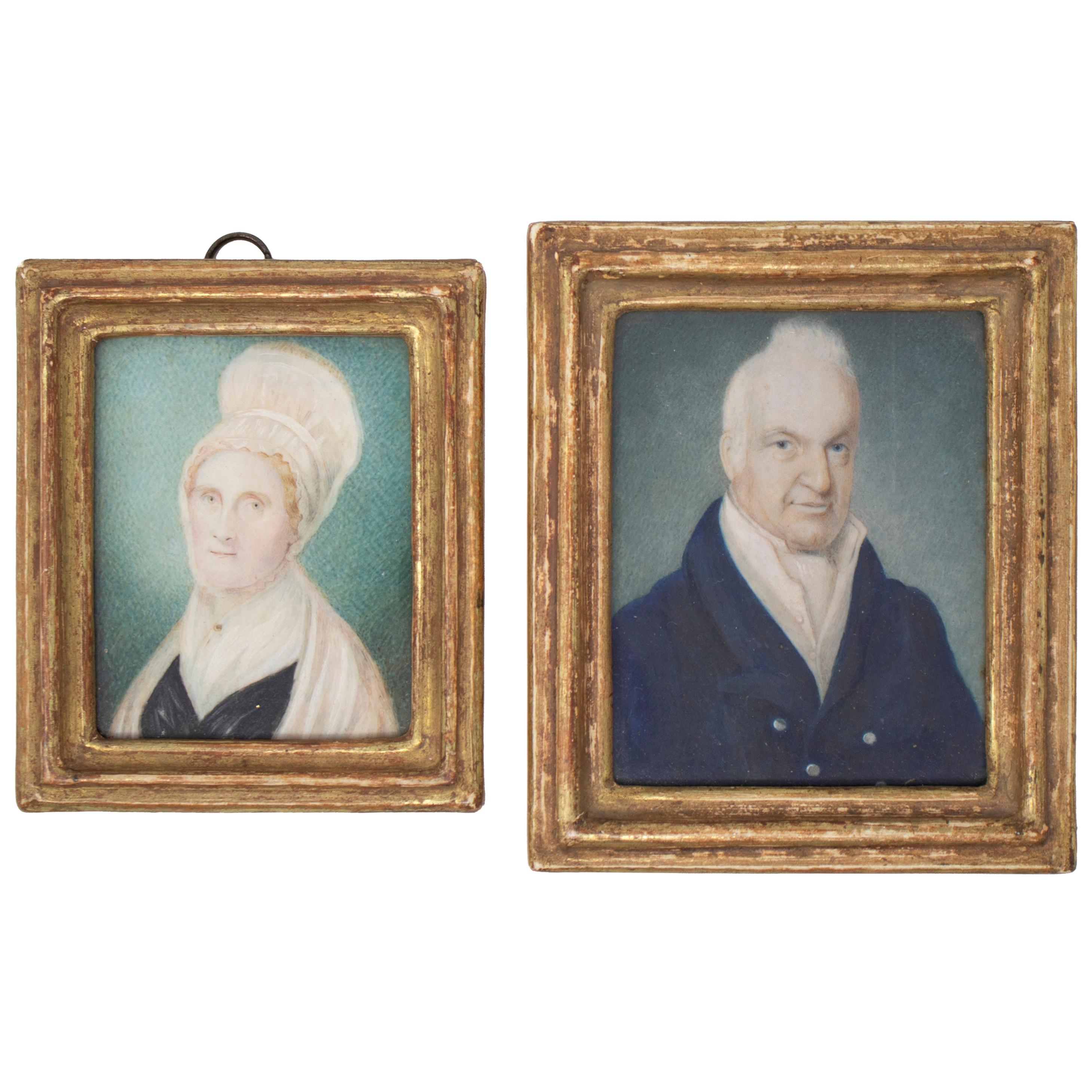 19th Century Pair of English Husband and Wife Miniature Portraits