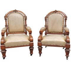 19th Century Pair of English Leather Library Chairs