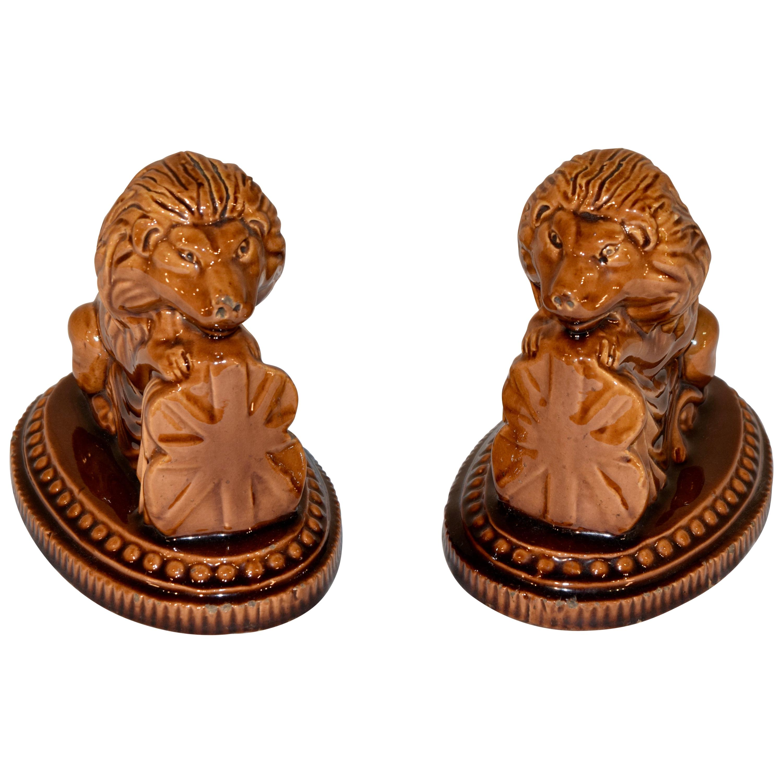 19th Century Pair of English Lion Figures