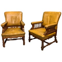 19th Century Pair of English Oak and Original Leather Armchairs