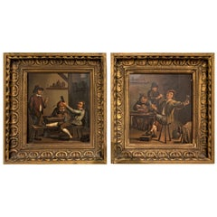 19th Century Pair of English Oil on Tin Interior Scene Paintings