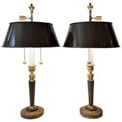 19th Century Pair of English Regency Candlesticks Bouillotte Lamps