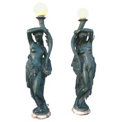 19th Century Pair of Flares in Cast Iron Enamelled by Durenne