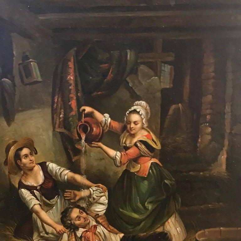 European 19th Century Pair of Flemish Interior Scene Paintings For Sale