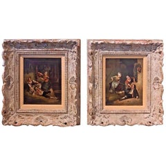 19th Century Pair of Flemish Interior Scene Paintings