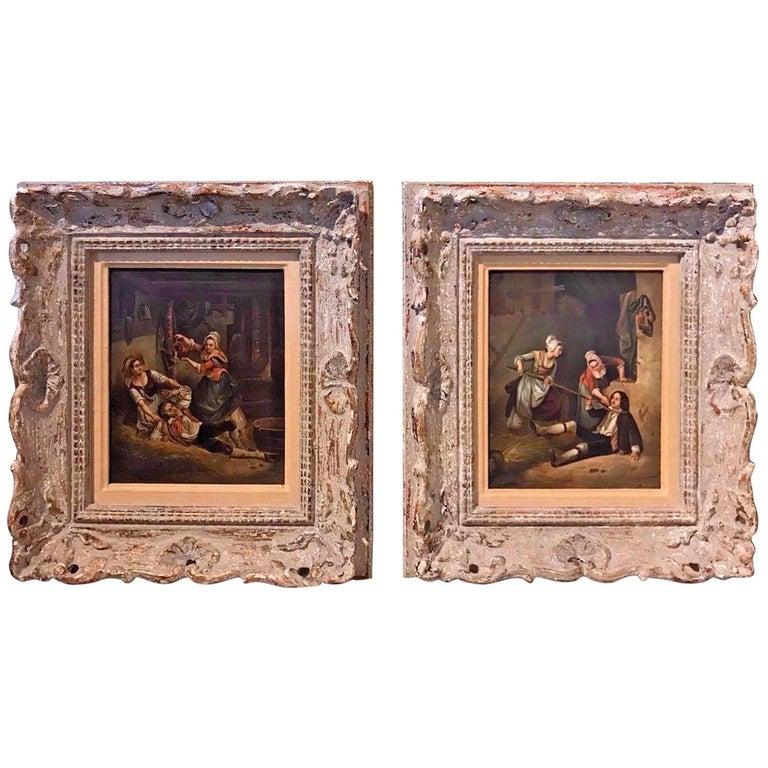 19th Century Pair of Flemish Interior Scene Paintings For Sale