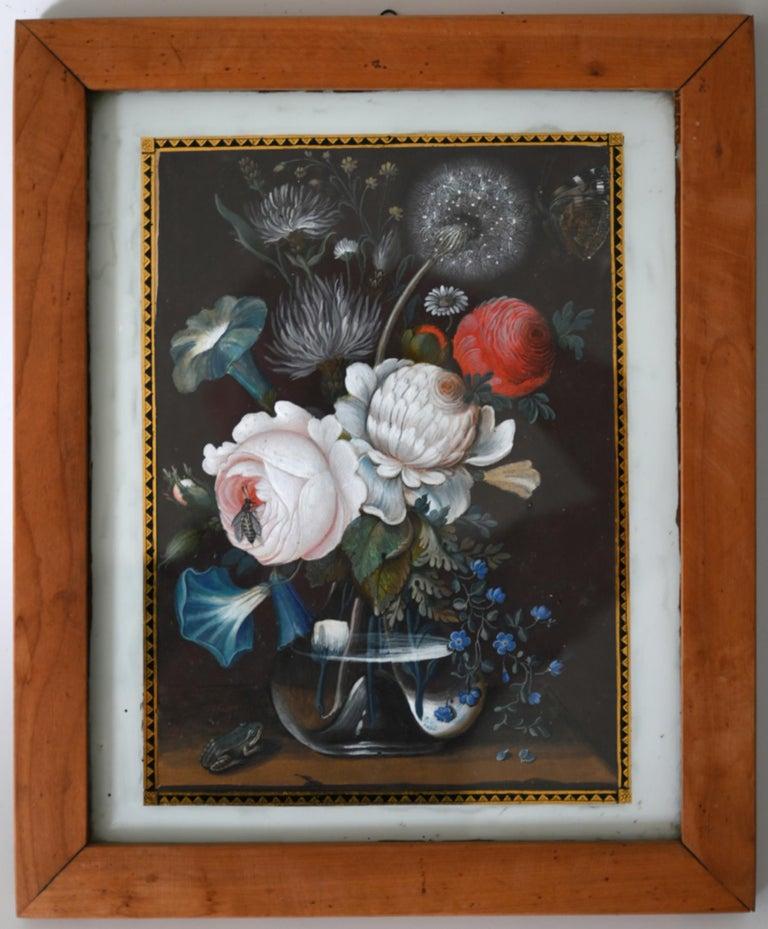 Biedermeier 19th Century Pair of Flower Still Lifes South German Gouache, circa 1820 For Sale