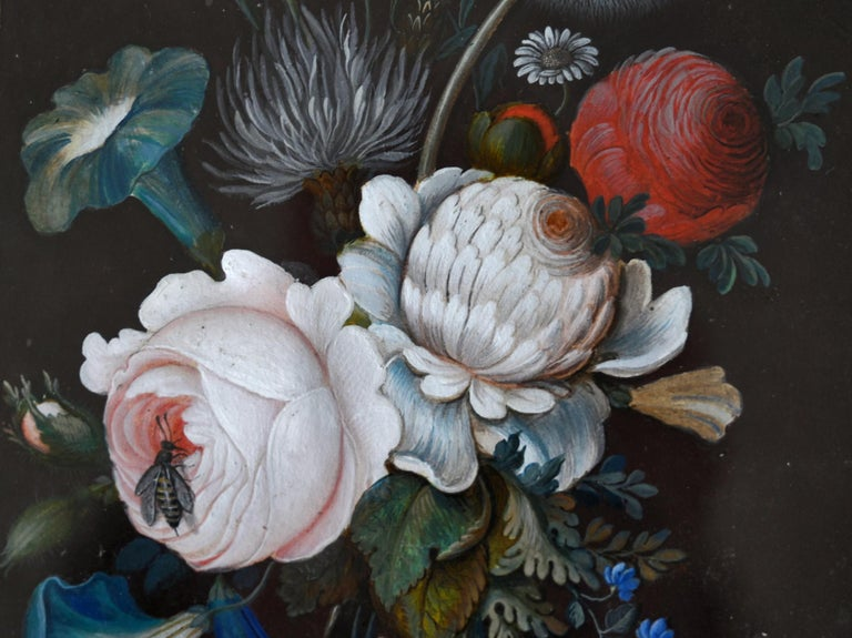Glass 19th Century Pair of Flower Still Lifes South German Gouache, circa 1820 For Sale