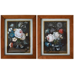 19th Century Pair of Flower Still Lifes South German Gouache, circa 1820