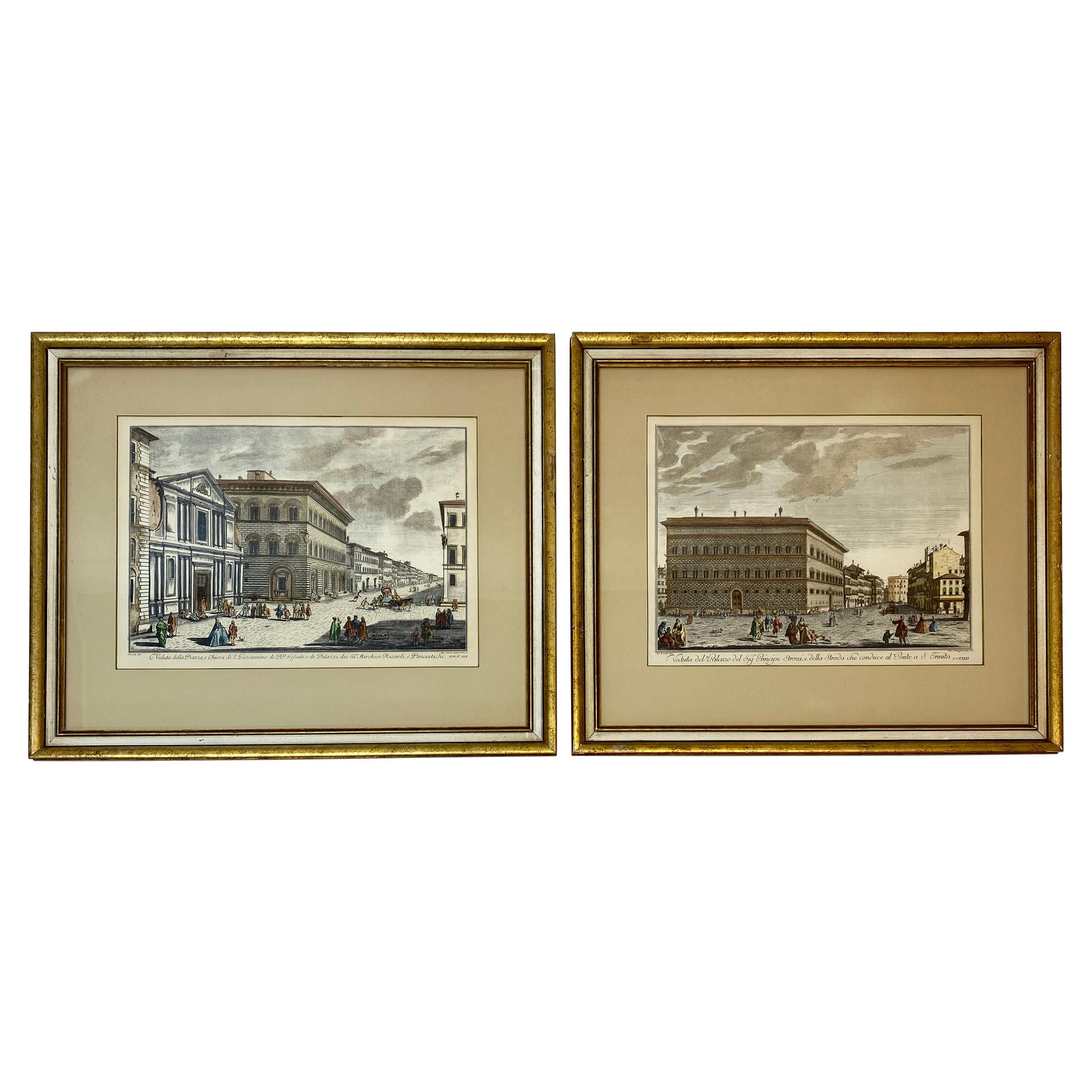 19th Century Pair of Framed Italian Hand Colored Engravings