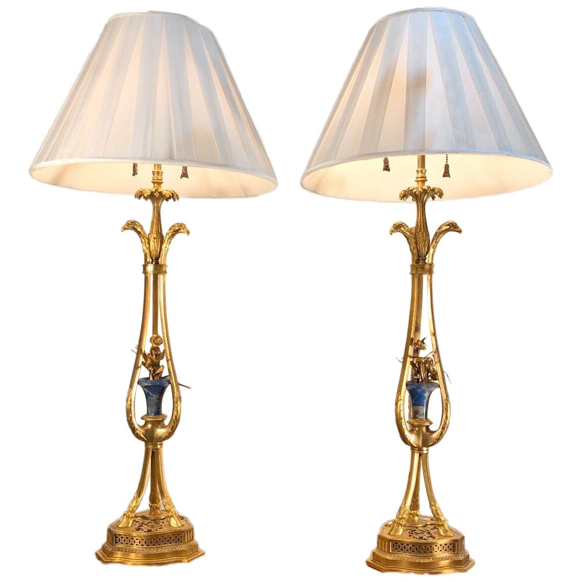 19th Century Pair of French Bronze Doré and Lapis Lamps with Eagle Heads