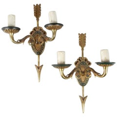 19th Century Pair of French Bronze Wall Sconces in Louis XVI Style
