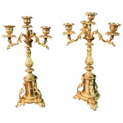 19th Century Pair of French Candle Lamps Bronze Gilded