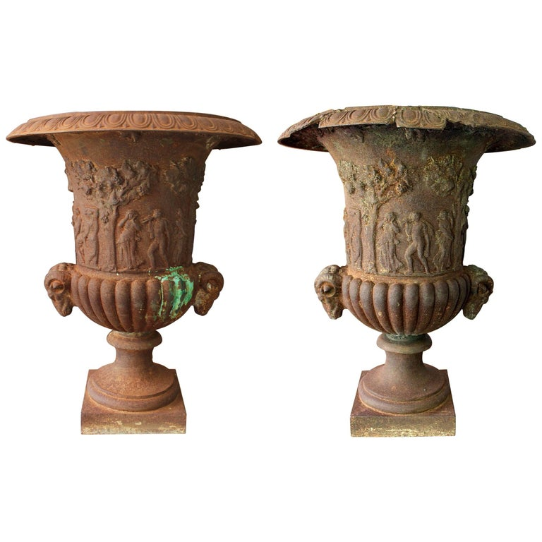 19th Century Pair of French Cast iron Planters For Sale
