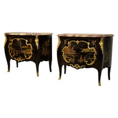 19th Century, Pair of French Chinoiserie Lacquered Commodes with Marble Top