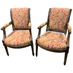 19th Century Pair of French Directoire Fauteuils