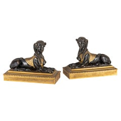 19th Century, Pair of French Empire Gilt and Patinated Bronze Sculptures Sphinxe