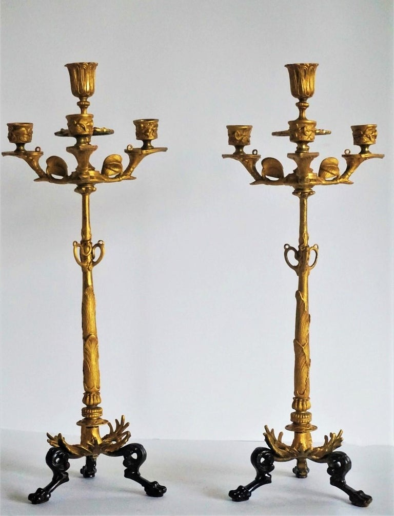 19th Century Pair of French Empire Gilt Bronze Four-Light Candelabra 2