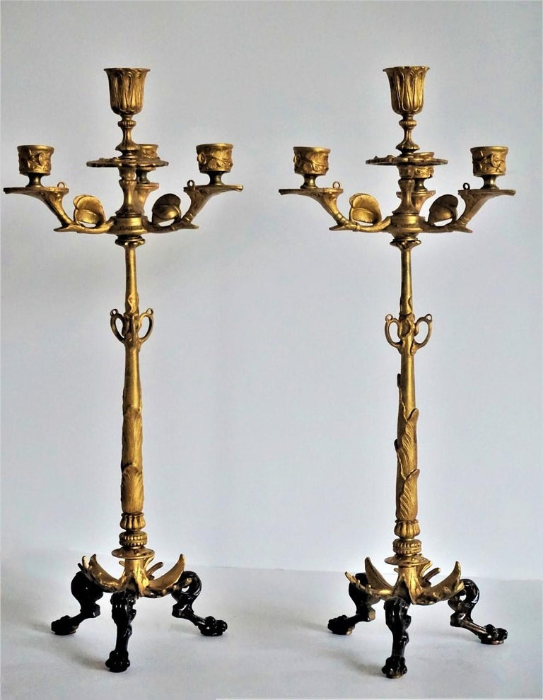 19th Century Pair of French Empire Gilt Bronze Four-Light Candelabra 3